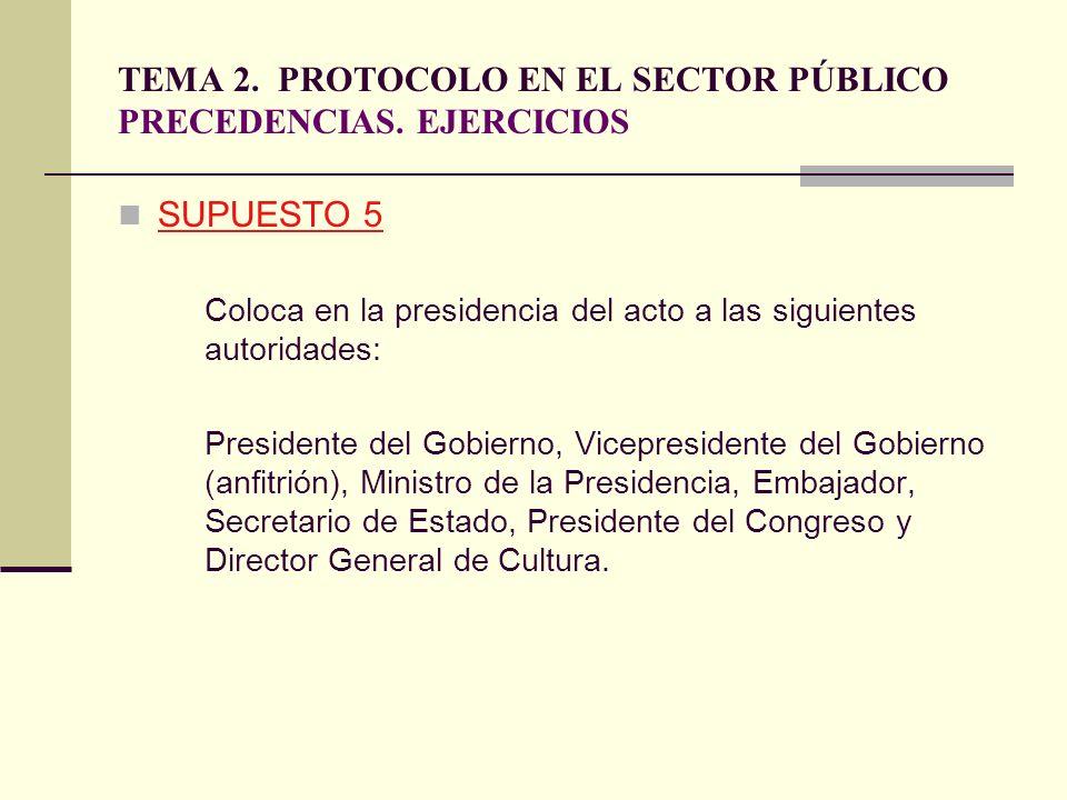 TEMA 2. PROTOCOLO EN EL SECTOR PÚBLICO PRECEDENCIAS. EJERCICIOS SUPUESTO 5 Coloca en la presidencia del acto a las siguientes autoridades: Presidente