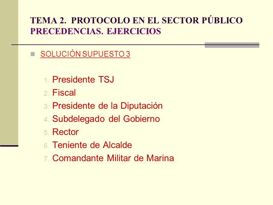TEMA 2. PROTOCOLO EN EL SECTOR PÚBLICO PRECEDENCIAS. EJERCICIOS SOLUCIÓN SUPUESTO 3 1. Presidente TSJ 2. Fiscal 3. Presidente de la Diputación 4. Subd