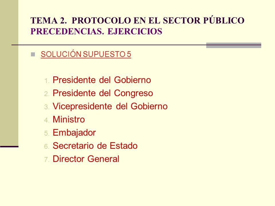 TEMA 2. PROTOCOLO EN EL SECTOR PÚBLICO PRECEDENCIAS. EJERCICIOS SOLUCIÓN SUPUESTO 5 1. Presidente del Gobierno 2. Presidente del Congreso 3. Vicepresi