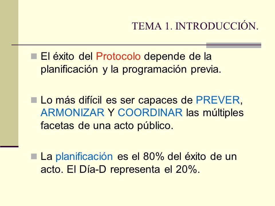 TEMA 1. INTRODUCCIÓN. El éxito del Protocolo depende de la planificación y la programación previa. Lo más difícil es ser capaces de PREVER, ARMONIZAR