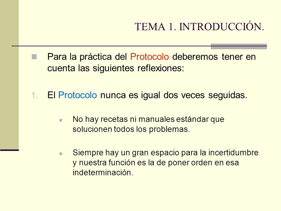 TEMA 1. INTRODUCCIÓN. Para la práctica del Protocolo deberemos tener en cuenta las siguientes reflexiones: 1. El Protocolo nunca es igual dos veces se