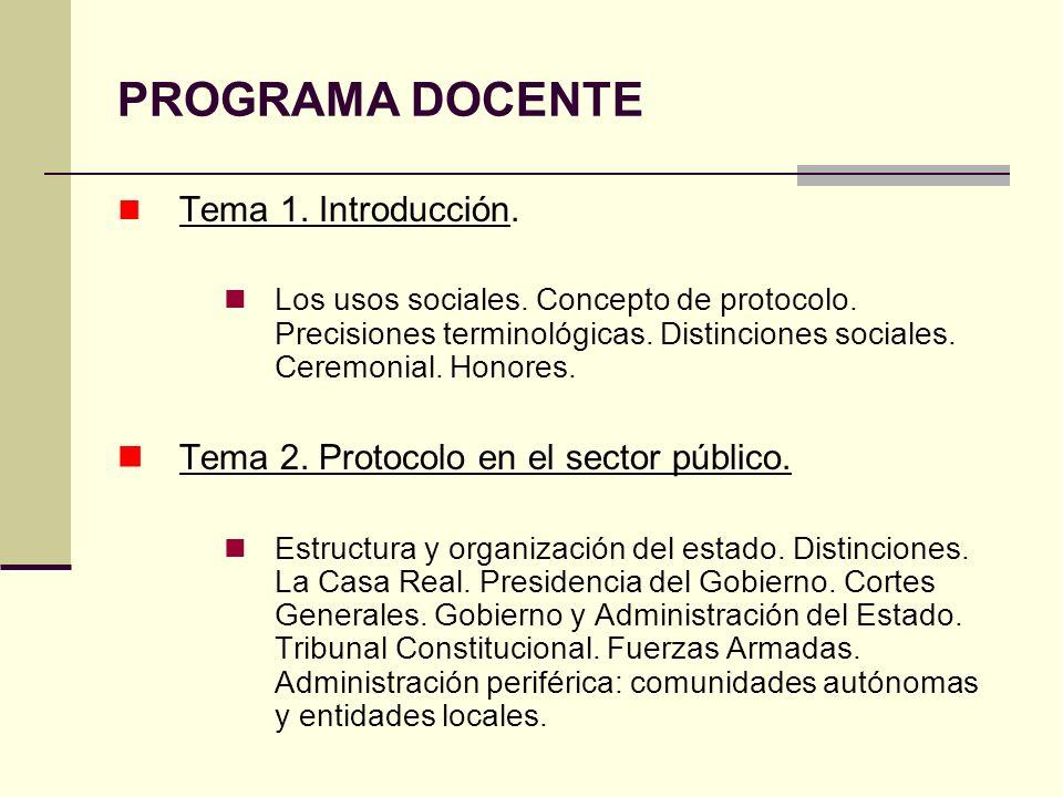 PROGRAMA DOCENTE Tema 1. Introducción. Los usos sociales. Concepto de protocolo. Precisiones terminológicas. Distinciones sociales. Ceremonial. Honore