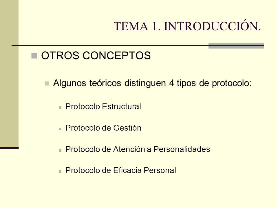 TEMA 1. INTRODUCCIÓN. OTROS CONCEPTOS Algunos teóricos distinguen 4 tipos de protocolo: Protocolo Estructural Protocolo de Gestión Protocolo de Atenci