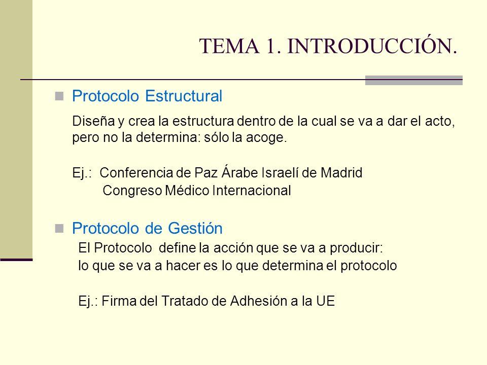 TEMA 1. INTRODUCCIÓN. Protocolo Estructural Diseña y crea la estructura dentro de la cual se va a dar el acto, pero no la determina: sólo la acoge. Ej