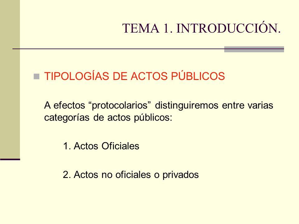 TEMA 1. INTRODUCCIÓN. TIPOLOGÍAS DE ACTOS PÚBLICOS A efectos protocolarios distinguiremos entre varias categorías de actos públicos: 1. Actos Oficiale