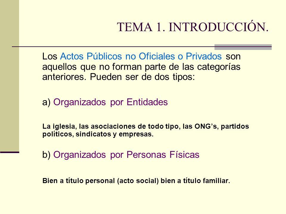 TEMA 1. INTRODUCCIÓN. Los Actos Públicos no Oficiales o Privados son aquellos que no forman parte de las categorías anteriores. Pueden ser de dos tipo