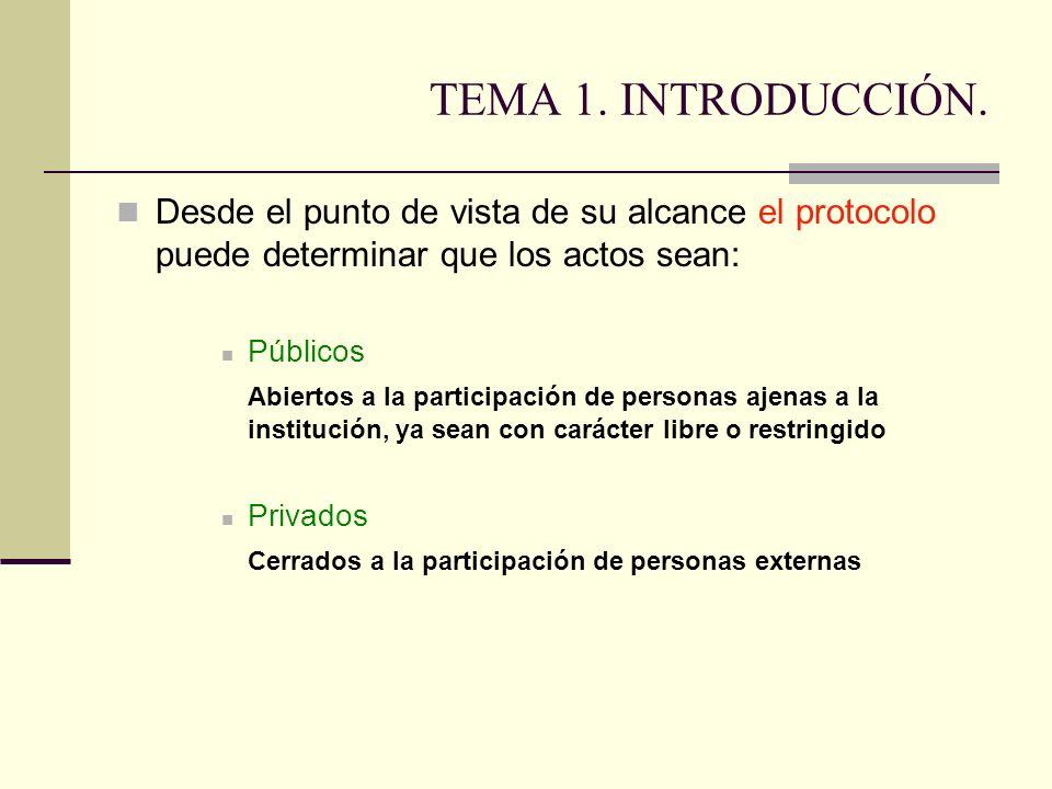 TEMA 1. INTRODUCCIÓN. Desde el punto de vista de su alcance el protocolo puede determinar que los actos sean: Públicos Abiertos a la participación de