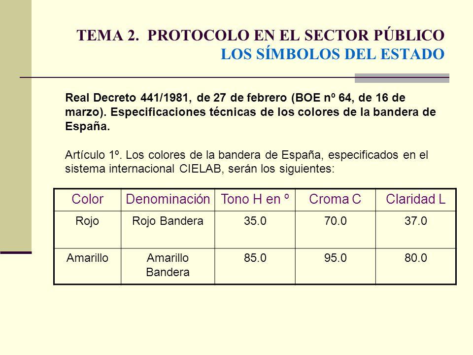 TEMA 2. PROTOCOLO EN EL SECTOR PÚBLICO LOS SÍMBOLOS DEL ESTADO ColorDenominaciónTono H en ºCroma CClaridad L RojoRojo Bandera35.070.037.0 AmarilloAmar