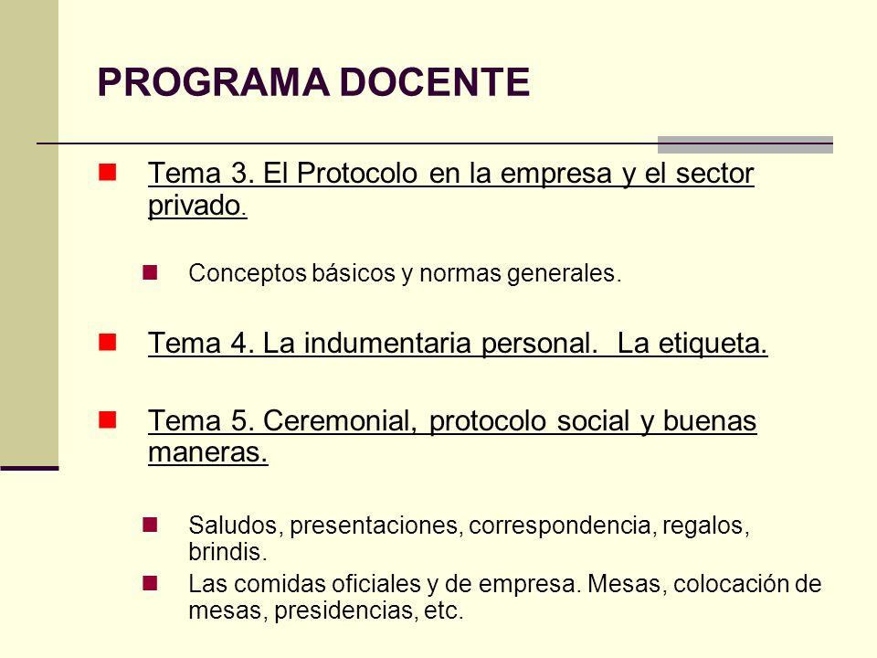 PROGRAMA DOCENTE Tema 3. El Protocolo en la empresa y el sector privado. Conceptos básicos y normas generales. Tema 4. La indumentaria personal. La et