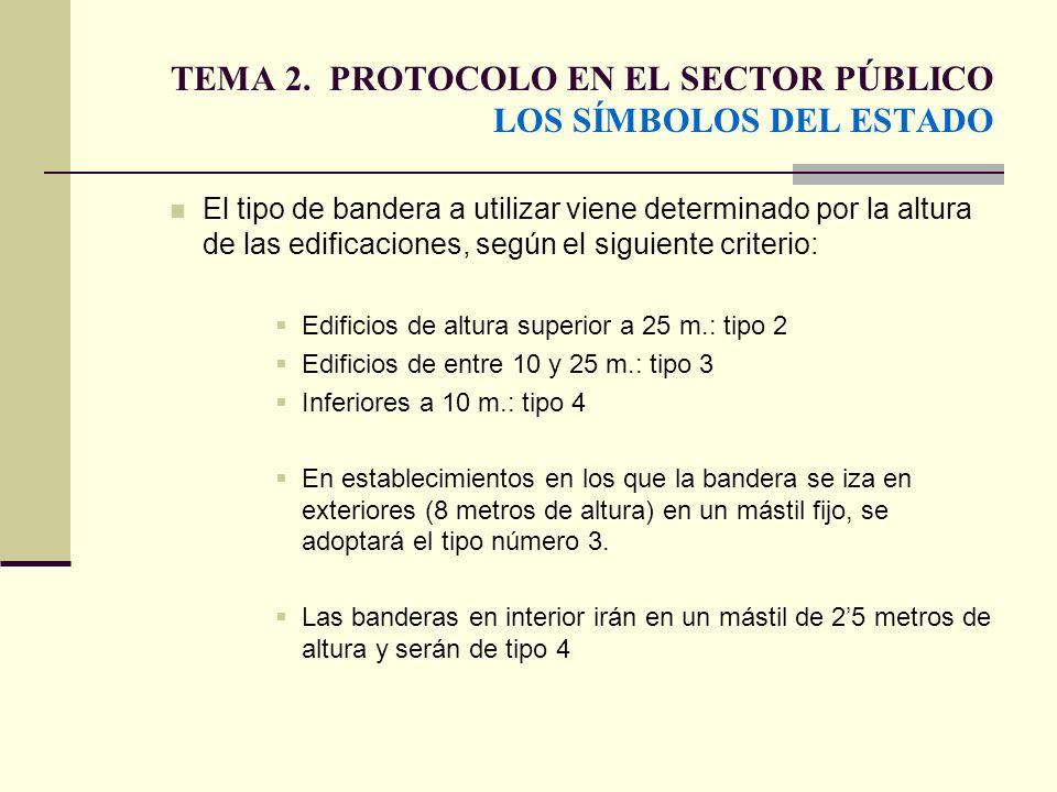 TEMA 2. PROTOCOLO EN EL SECTOR PÚBLICO LOS SÍMBOLOS DEL ESTADO El tipo de bandera a utilizar viene determinado por la altura de las edificaciones, seg