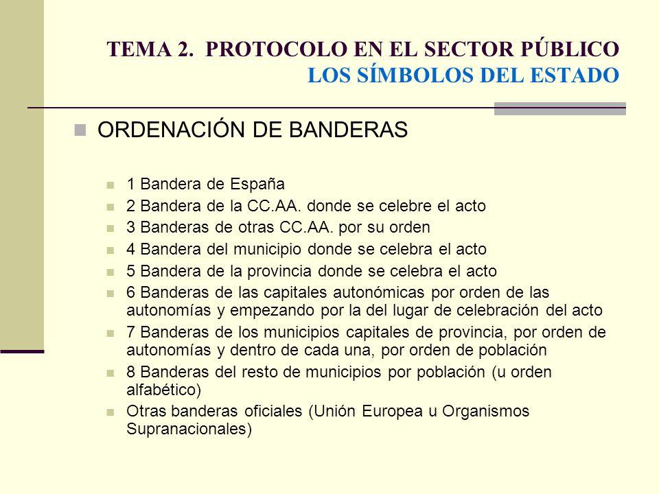 TEMA 2. PROTOCOLO EN EL SECTOR PÚBLICO LOS SÍMBOLOS DEL ESTADO ORDENACIÓN DE BANDERAS 1 Bandera de España 2 Bandera de la CC.AA. donde se celebre el a