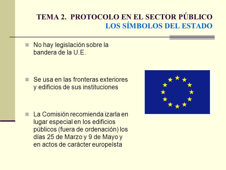 TEMA 2. PROTOCOLO EN EL SECTOR PÚBLICO LOS SÍMBOLOS DEL ESTADO No hay legislación sobre la bandera de la U.E. Se usa en las fronteras exteriores y edi