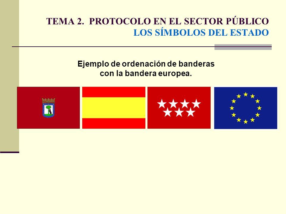 TEMA 2. PROTOCOLO EN EL SECTOR PÚBLICO LOS SÍMBOLOS DEL ESTADO Ejemplo de ordenación de banderas con la bandera europea.