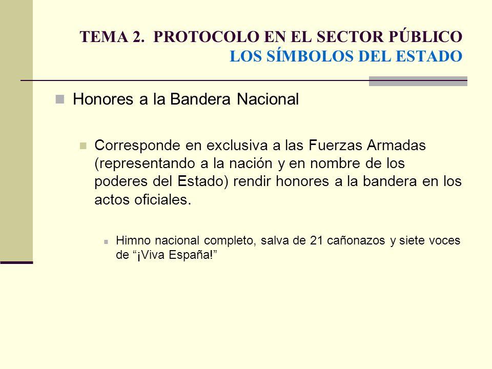 TEMA 2. PROTOCOLO EN EL SECTOR PÚBLICO LOS SÍMBOLOS DEL ESTADO Honores a la Bandera Nacional Corresponde en exclusiva a las Fuerzas Armadas (represent