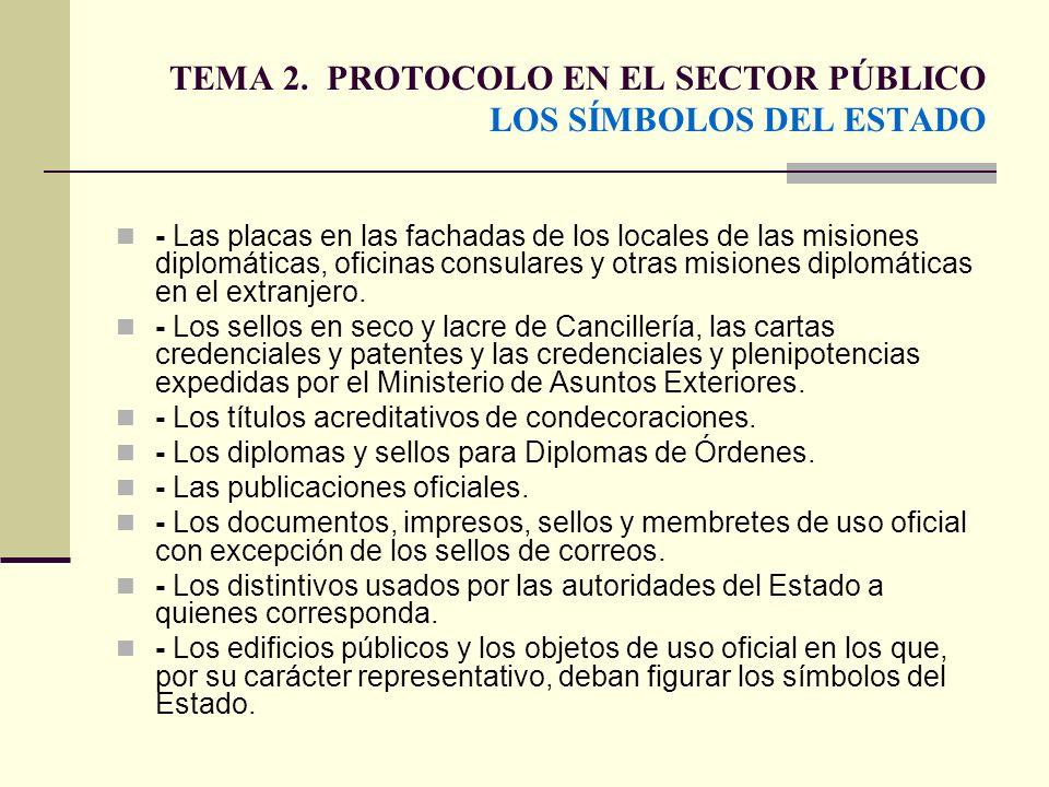 TEMA 2. PROTOCOLO EN EL SECTOR PÚBLICO LOS SÍMBOLOS DEL ESTADO - Las placas en las fachadas de los locales de las misiones diplomáticas, oficinas cons
