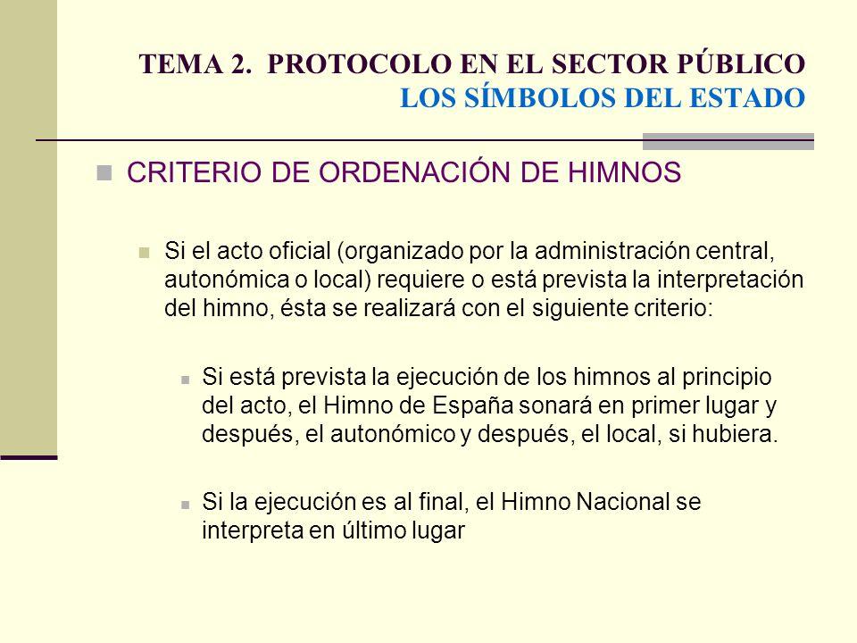 TEMA 2. PROTOCOLO EN EL SECTOR PÚBLICO LOS SÍMBOLOS DEL ESTADO CRITERIO DE ORDENACIÓN DE HIMNOS Si el acto oficial (organizado por la administración c