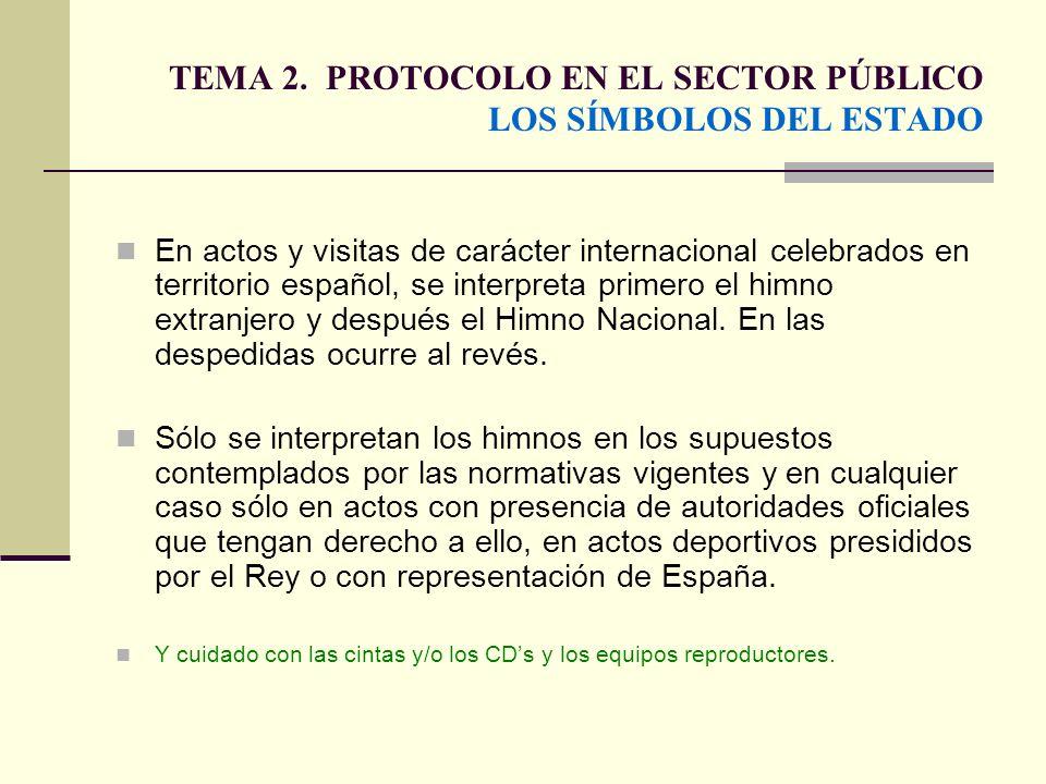 TEMA 2. PROTOCOLO EN EL SECTOR PÚBLICO LOS SÍMBOLOS DEL ESTADO En actos y visitas de carácter internacional celebrados en territorio español, se inter