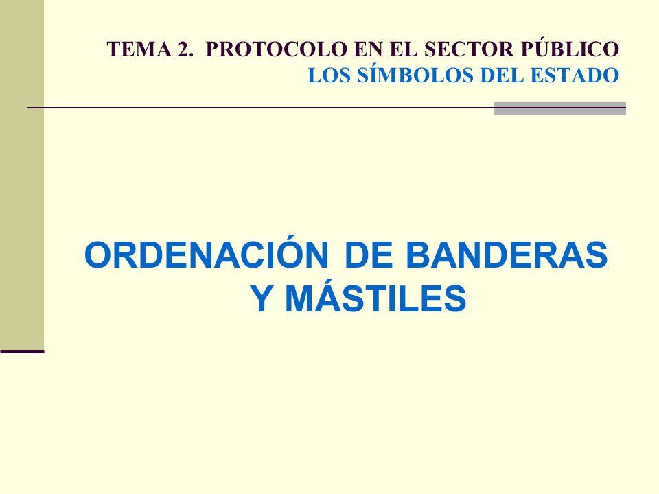 TEMA 2. PROTOCOLO EN EL SECTOR PÚBLICO LOS SÍMBOLOS DEL ESTADO ORDENACIÓN DE BANDERAS Y MÁSTILES