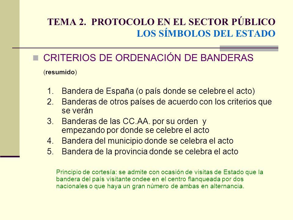 TEMA 2. PROTOCOLO EN EL SECTOR PÚBLICO LOS SÍMBOLOS DEL ESTADO CRITERIOS DE ORDENACIÓN DE BANDERAS (resumido) 1. Bandera de España (o país donde se ce