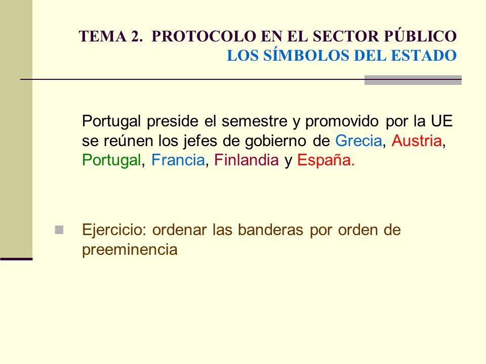 TEMA 2. PROTOCOLO EN EL SECTOR PÚBLICO LOS SÍMBOLOS DEL ESTADO Portugal preside el semestre y promovido por la UE se reúnen los jefes de gobierno de G
