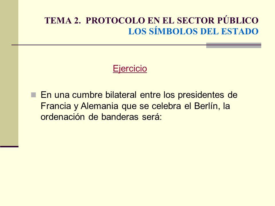 TEMA 2. PROTOCOLO EN EL SECTOR PÚBLICO LOS SÍMBOLOS DEL ESTADO Ejercicio En una cumbre bilateral entre los presidentes de Francia y Alemania que se ce