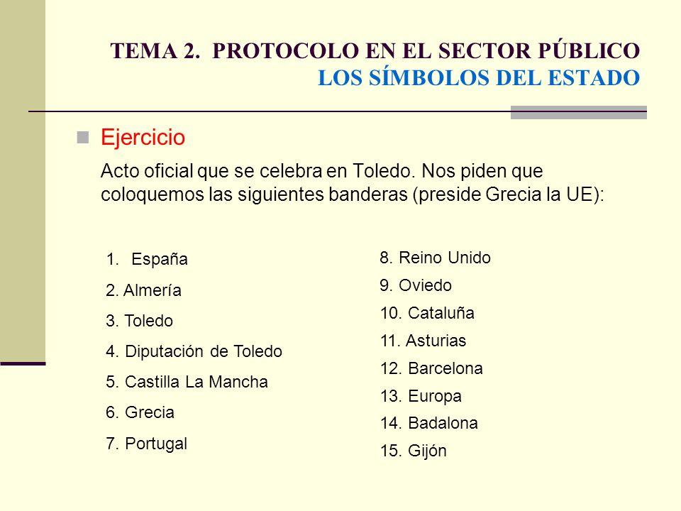 TEMA 2. PROTOCOLO EN EL SECTOR PÚBLICO LOS SÍMBOLOS DEL ESTADO Ejercicio Acto oficial que se celebra en Toledo. Nos piden que coloquemos las siguiente