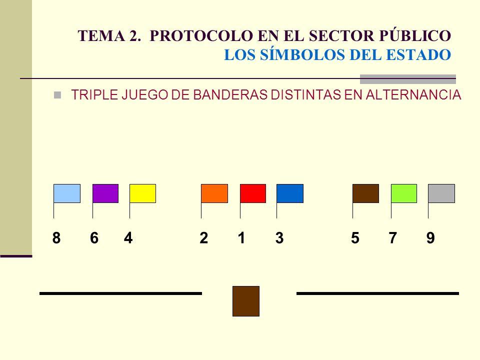 TEMA 2. PROTOCOLO EN EL SECTOR PÚBLICO LOS SÍMBOLOS DEL ESTADO TRIPLE JUEGO DE BANDERAS DISTINTAS EN ALTERNANCIA 135864297
