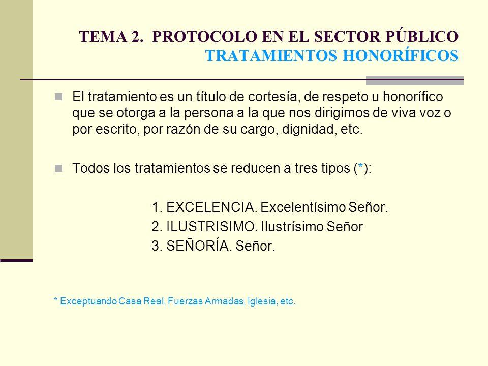 TEMA 2. PROTOCOLO EN EL SECTOR PÚBLICO TRATAMIENTOS HONORÍFICOS El tratamiento es un título de cortesía, de respeto u honorífico que se otorga a la pe
