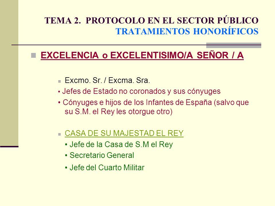 TEMA 2. PROTOCOLO EN EL SECTOR PÚBLICO TRATAMIENTOS HONORÍFICOS EXCELENCIA o EXCELENTISIMO/A SEÑOR / A Excmo. Sr. / Excma. Sra. Jefes de Estado no cor