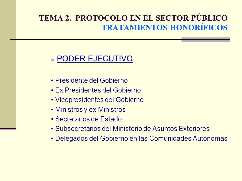 TEMA 2. PROTOCOLO EN EL SECTOR PÚBLICO TRATAMIENTOS HONORÍFICOS PODER EJECUTIVO Presidente del Gobierno Ex Presidentes del Gobierno Vicepresidentes de
