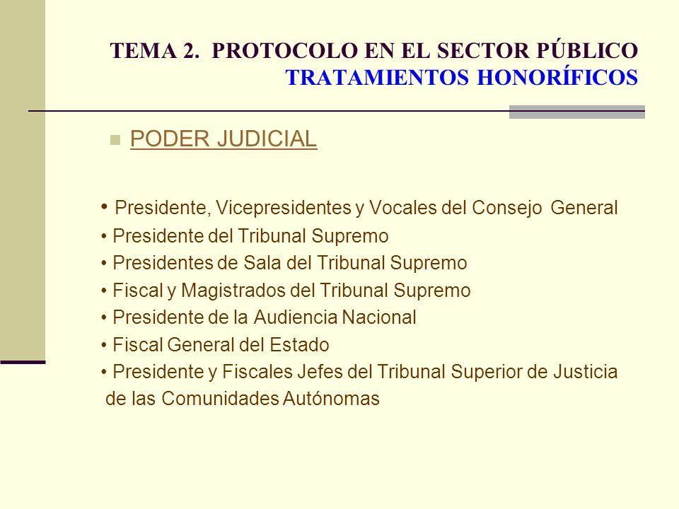 TEMA 2. PROTOCOLO EN EL SECTOR PÚBLICO TRATAMIENTOS HONORÍFICOS PODER JUDICIAL Presidente, Vicepresidentes y Vocales del Consejo General Presidente de