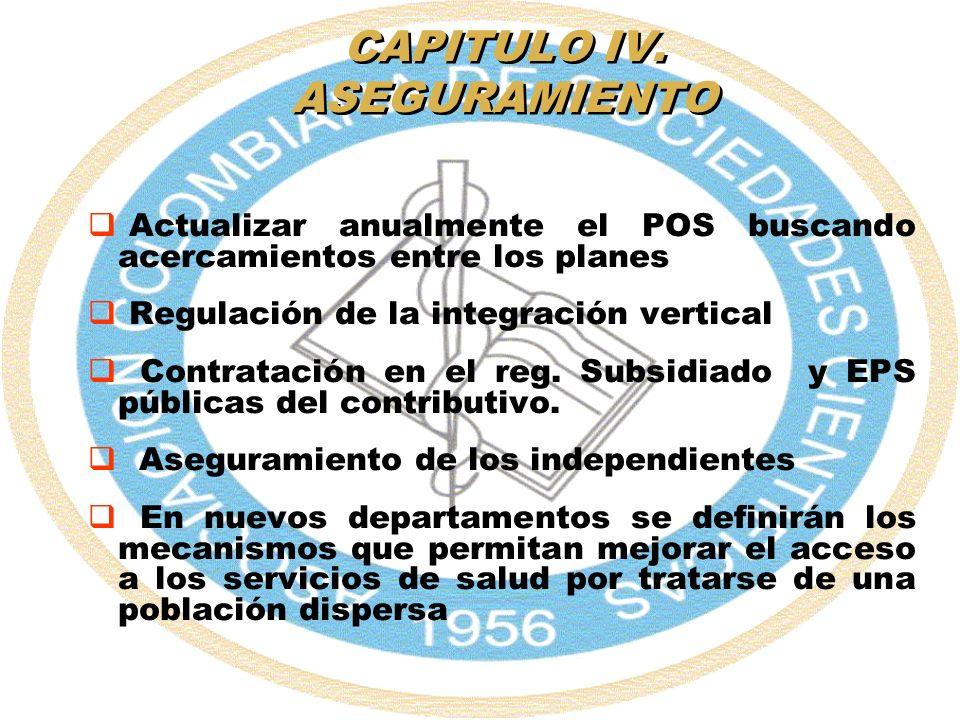 CAPITULO IV. ASEGURAMIENTO Actualizar anualmente el POS buscando acercamientos entre los planes Regulación de la integración vertical Contratación en
