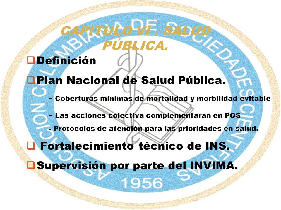 CAPITULO VI. SALUD PÚBLICA. Definición Plan Nacional de Salud Pública. - Coberturas mínimas de mortalidad y morbilidad evitable - Las acciones colecti