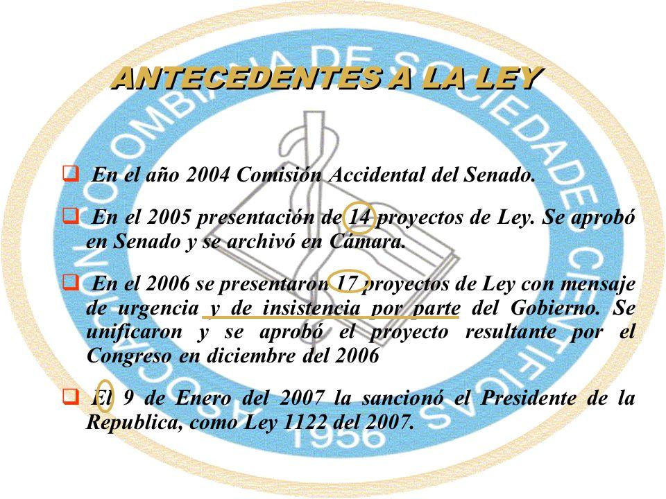 ANTECEDENTES A LA LEY En el año 2004 Comisión Accidental del Senado. En el 2005 presentación de 14 proyectos de Ley. Se aprobó en Senado y se archivó