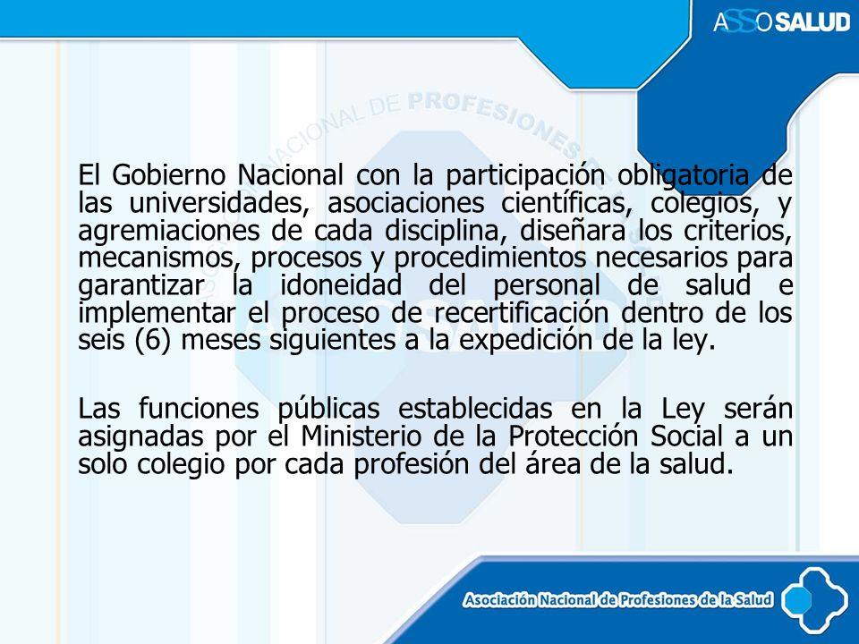 El Gobierno Nacional con la participación obligatoria de las universidades, asociaciones científicas, colegios, y agremiaciones de cada disciplina, di