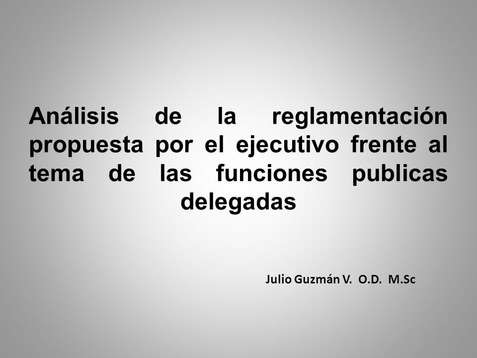 Análisis de la reglamentación propuesta por el ejecutivo frente al tema de las funciones publicas delegadas Julio Guzmán V. O.D. M.Sc