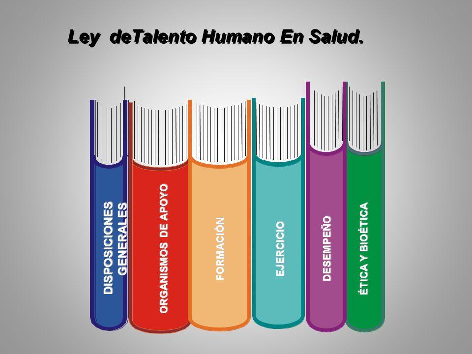 Ley deTalento Humano En Salud. DISPOSICIONES GENERALES FORMACIÓNEJERCICIODESEMPEÑO ÉTICA Y BIOÉTICA ORGANISMOS DE APOYO