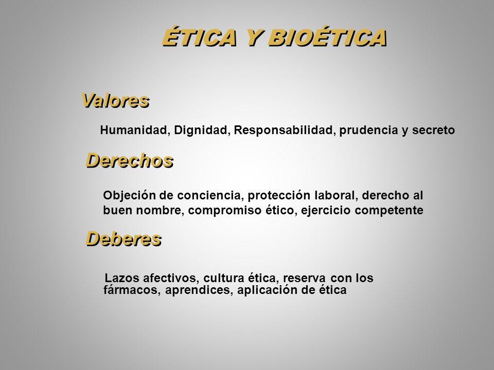 ÉTICA Y BIOÉTICA Lazos afectivos, cultura ética, reserva con los fármacos, aprendices, aplicación de ética Valores Humanidad, Dignidad, Responsabilida