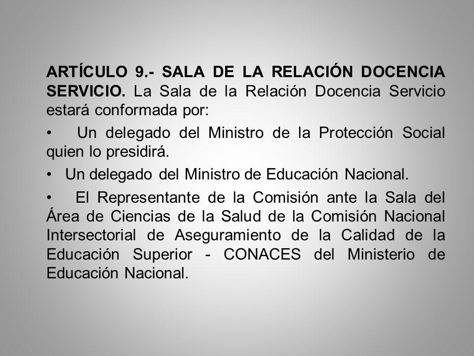 ARTÍCULO 9.- SALA DE LA RELACIÓN DOCENCIA SERVICIO. La Sala de la Relación Docencia Servicio estará conformada por: Un delegado del Ministro de la Pro