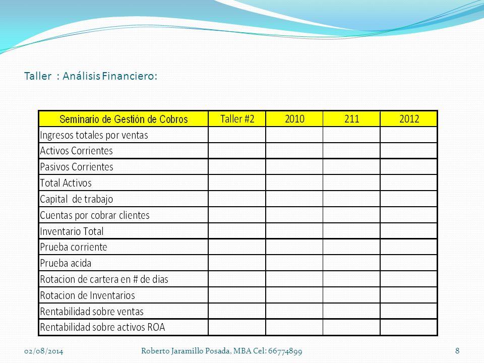 Taller : Análisis Financiero: 02/08/20148Roberto Jaramillo Posada, MBA Cel: 66774899