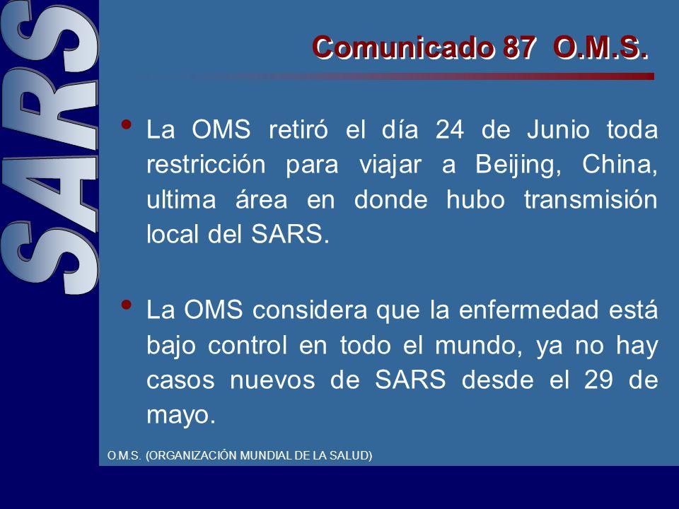 La OMS retiró el día 24 de Junio toda restricción para viajar a Beijing, China, ultima área en donde hubo transmisión local del SARS.