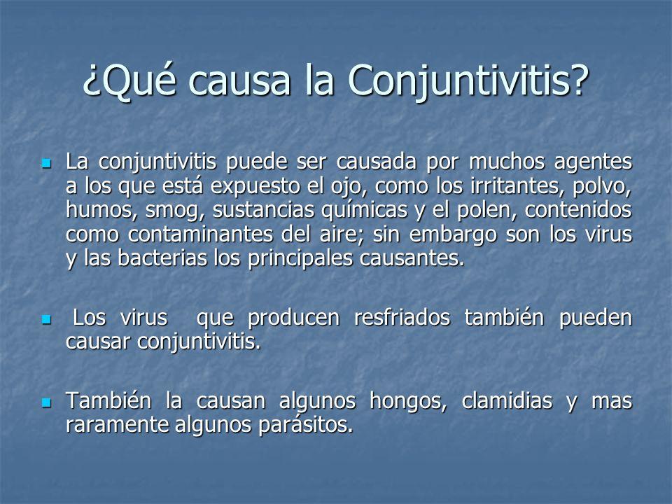 ¿Qué causa la Conjuntivitis? La conjuntivitis puede ser causada por muchos agentes a los que está expuesto el ojo, como los irritantes, polvo, humos,