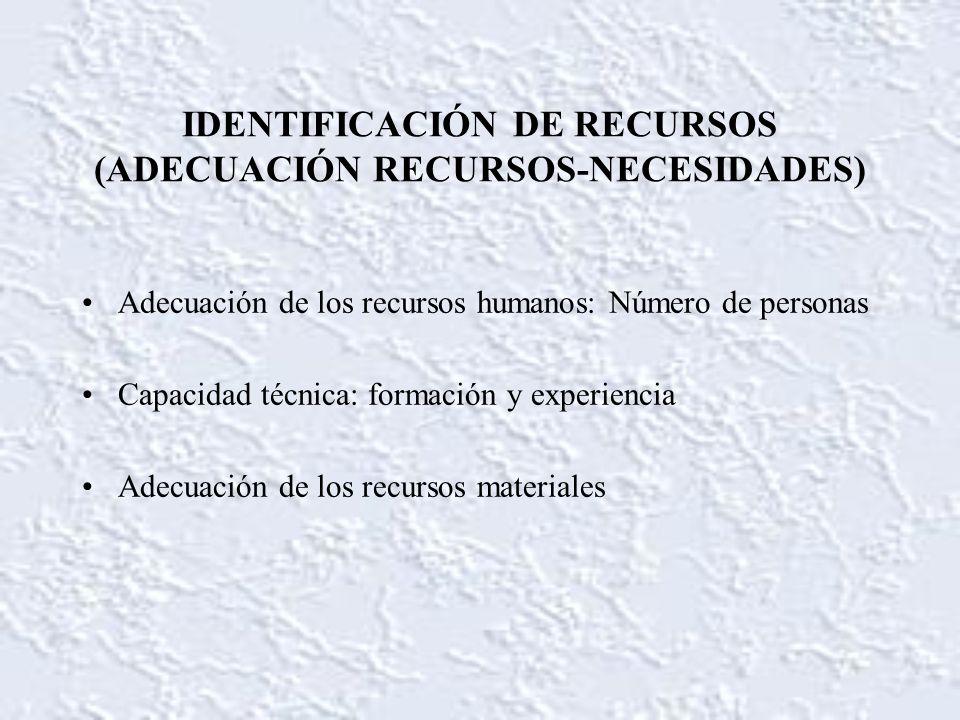 IDENTIFICACIÓN DE RECURSOS (ADECUACIÓN RECURSOS-NECESIDADES) Adecuación de los recursos humanos: Número de personas Capacidad técnica: formación y exp