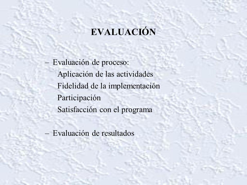 EVALUACIÓN –Evaluación de proceso: Aplicación de las actividades Fidelidad de la implementación Participación Satisfacción con el programa –Evaluación