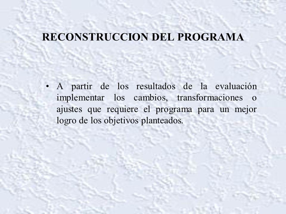 RECONSTRUCCION DEL PROGRAMA A partir de los resultados de la evaluación implementar los cambios, transformaciones o ajustes que requiere el programa p