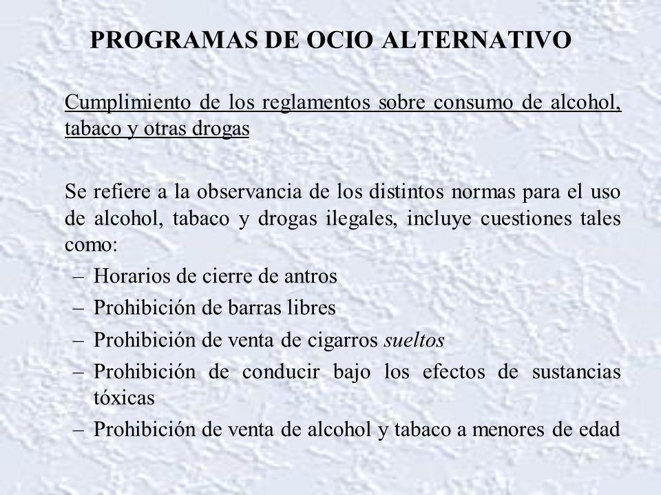 PROGRAMAS DE OCIO ALTERNATIVO Cumplimiento de los reglamentos sobre consumo de alcohol, tabaco y otras drogas Se refiere a la observancia de los disti