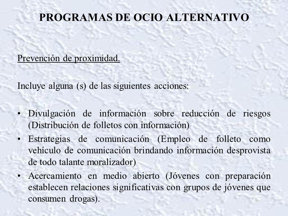 PROGRAMAS DE OCIO ALTERNATIVO Prevención de proximidad. Incluye alguna (s) de las siguientes acciones: Divulgación de información sobre reducción de r