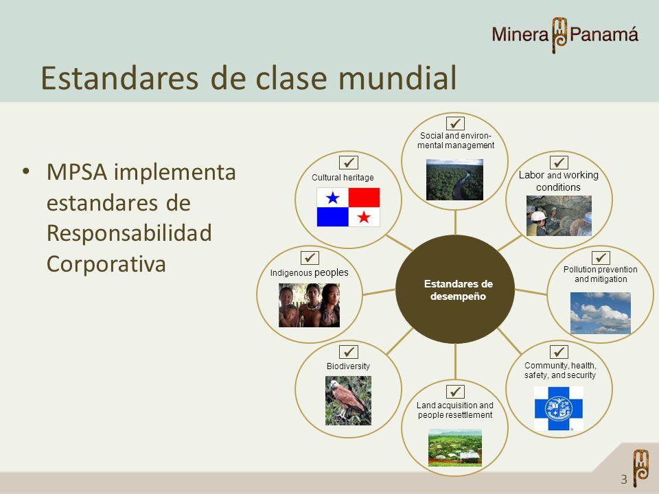 Estandares de clase mundial MPSA implementa estandares de Responsabilidad Corporativa 3 Estandares de desempeño Cultural heritage Social and environ-