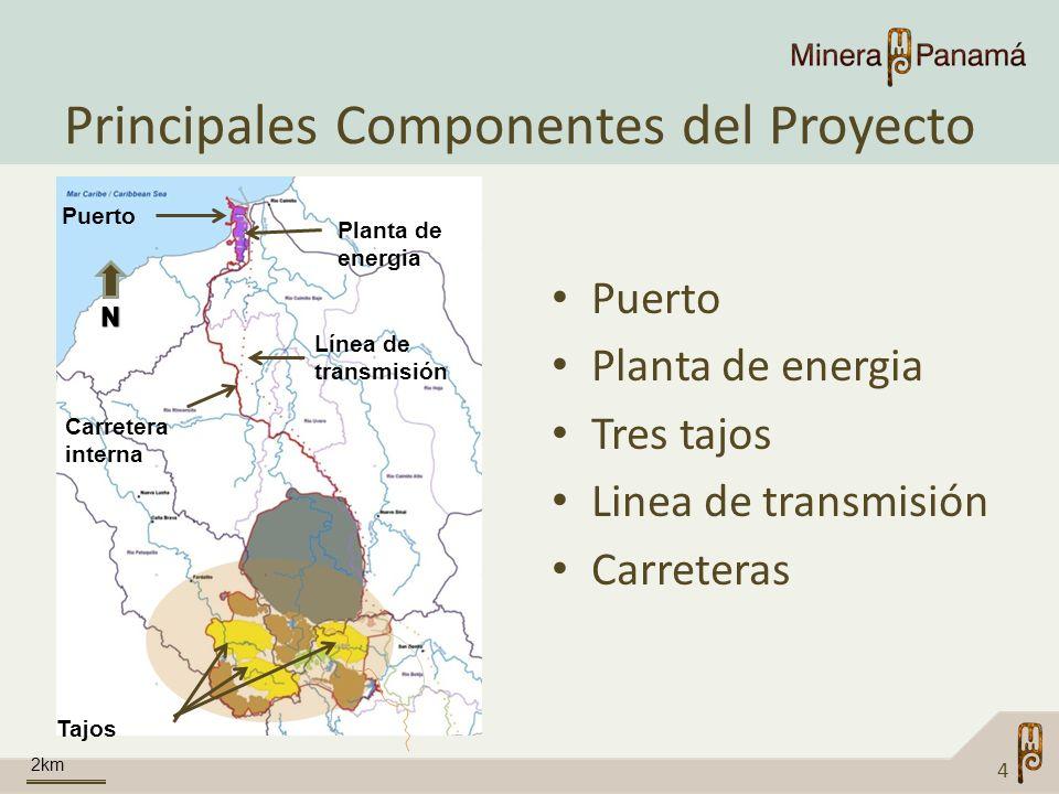 Principales Componentes del Proyecto Puerto Planta de energia Tres tajos Linea de transmisión Carreteras 4 Puerto Línea de transmisión Carretera inter
