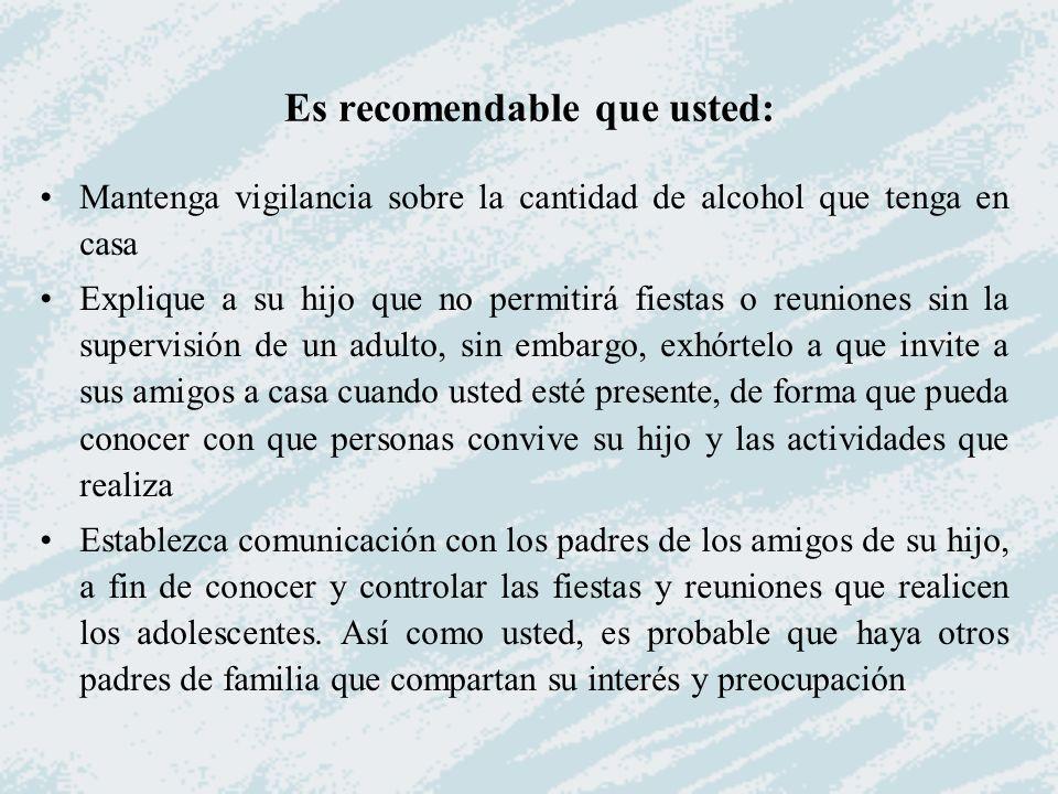Es recomendable que usted: Mantenga vigilancia sobre la cantidad de alcohol que tenga en casa Explique a su hijo que no permitirá fiestas o reuniones